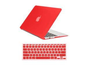 """Rubberized Matte Hard Case for Apple Macbook Air 11"""" A1370 / A1465 + Silicone Keyboard Skin Cover Back Case Cover For Macbook Air 11-Inch RED"""