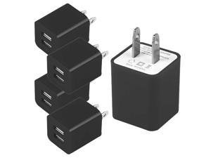 5 PACK AC Travel Adapter 2A USB Wall Charger 5V Dual 2 USB Charge Charger US Pin For Cell phones Tablet  BLACK