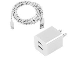 "Micro USB Sync Charge Cable + 2A/1A Dual USB Port Adapter AC Wall Charger for Samsung Galaxy S2 S3 S4 Tab 3 7"" 8"" 10"" HTC, Nokia -WHITE"