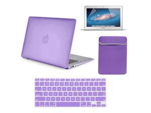 """4 in 1 Rubberized Matte Hard Case for Macbook Air 13"""" 13-Inch A1369 & A1466 + Keyboard Skin + LCD Screen Protector + Sleeve Bag PURPLE"""