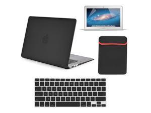 """4 in 1 Rubberized Matte Hard Case for Macbook Air 13"""" 13-Inch A1369 & A1466 + Keyboard Skin + LCD Screen Protector + Sleeve Bag BLACK"""