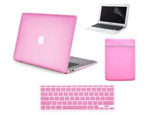 """4 in 1 Rubberized Matte Hard Case for Macbook Air 13"""" 13-Inch A1369 & A1466 + Keyboard Skin + LCD Screen Protector + Sleeve Bag PINK"""