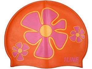 1Line Sports Flower Trio Silicone Swim Cap Orange