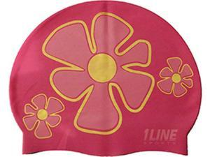 1Line Sports Flower Trio Silicone Swim Cap Pink