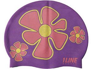 1Line Sports Flower Trio Silicone Swim Cap Purple