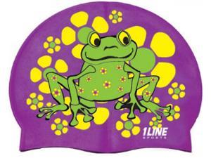 1Line Sports Frog Power Silicone Swim Cap Purple