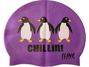 1Line Sports Chillin Silicone Swim Cap Purple