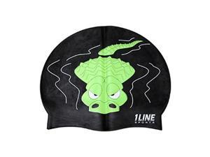 1Line Sports Gator Silicone Swim Cap Black