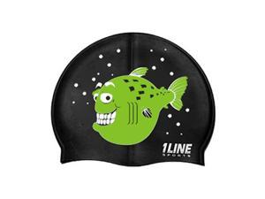 1Line Sports Happy Fish Silicone Swim Cap Black