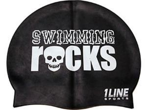 1Line Sports Swimming Rocks Silicone Swim Cap Black