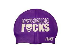 1Line Sports Swimming Rocks Silicone Swim Cap Purple