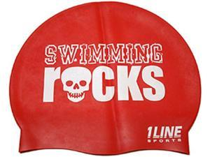 1Line Sports Swimming Rocks Silicone Swim Cap Red