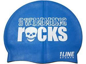 1Line Sports Swimming Rocks Silicone Swim Cap Royal