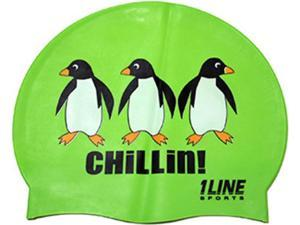 1Line Sports Chillin Silicone Swim Cap Green