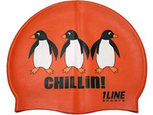 1Line Sports Chillin Silicone Swim Cap Orange