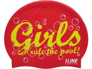1Line Sports Girls Rule Silicone Swim Cap Red
