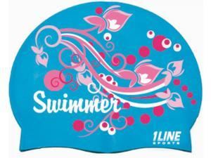 1Line Sports Swimmer Swirl Silicone Swim Cap Royal