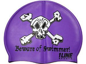 1Line Sports Beware of Swimmer Silicone Swim Cap Purple