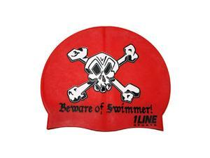 1Line Sports Beware of Swimmer Silicone Swim Cap Red