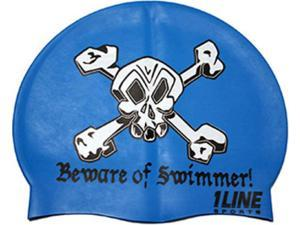 1Line Sports Beware of Swimmer Silicone Swim Cap Royal