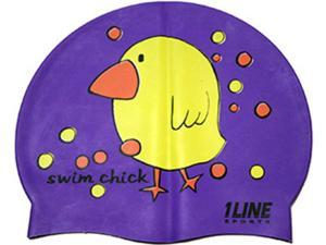 1Line Sports Swim Chick Silicone Swim Cap Purple