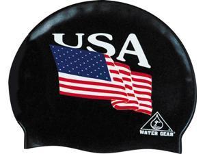 Water Gear Silicone USA Swim Cap Black