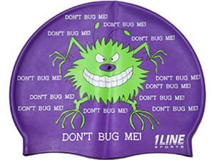 1Line Sports Don't Bug Me Silicone Swim Cap Purple