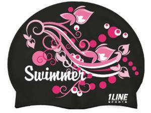 1Line Sports Swimmer Swirl Silicone Swim Cap Black