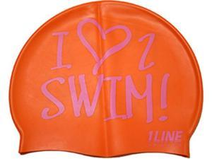 1Line Sports Love 2 Swim Silicone Swim Cap Orange