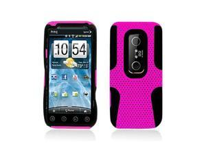 Pink Hybrid Hard Case Cover with Black Silicone Inner Case for HTC Evo 3D  Evo V