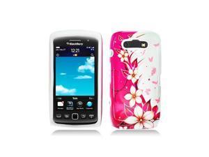 Pink Flower Hybrid Case with White Inner Case for Blackberry 9860 / 9850 / 9570
