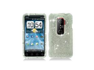 Silver Full Diamonds Snap-On Hard Case Cover for HTC Evo 3D  /  Evo V