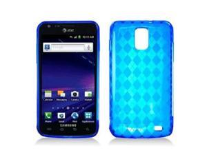Blue with Crystal Plaid Pattern TPU Gummy Case Cover for Samsung i727
