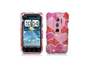 Red / White Hearts Design Diamonds Snap-On Hard Case Cover for HTC Evo 3D Evo V