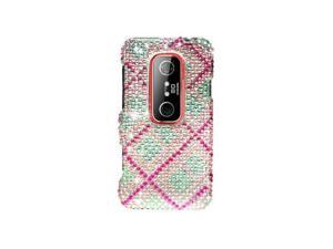 Pink / White Plaid Design Diamonds Snap-On Hard Case Cover for HTC Evo 3D Evo V