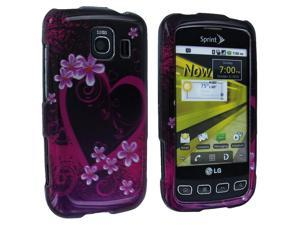 Purple Love Design Snap-On Hard Case Cover for LG Optimus S LS670