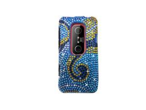 Blue Wave Design Full Diamonds Snap-On Hard Case Cover for HTC Evo 3D  /  Evo V