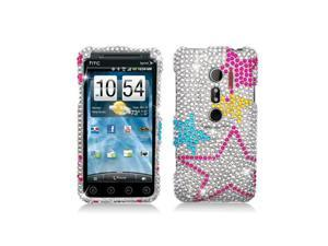 Colorful Stars Design Full Diamonds Snap-On Hard Case Cover for HTC Evo 3D Evo V