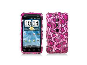 Pink Leopard Design Full Diamonds Snap-On Hard Case Cover for HTC Evo 3D  Evo V