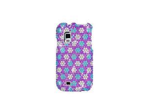 Blue & White Flowers Full Diamonds Snap-On Case Cover for Samsung Fascinate I500