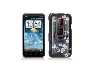 Midnight Flowers Design Snap-On Hard Case Cover for HTC Evo 3D  /  Evo V