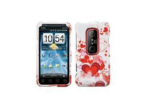 Red Hearts Design Snap-On Hard Case Cover for HTC Evo 3D  /  Evo V