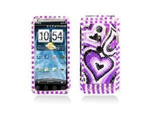 Purple Heart Design Diamonds and Pearl Snap-On Case Cover for HTC Evo 3D  Evo V