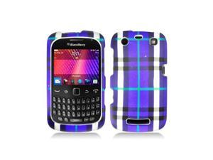 Blue Plaid Design Snap-On Hard Case Cover for Blackberry Curve 9350 9360 9370