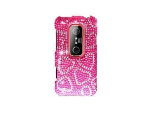 Hot Pink Hearts Design Diamonds Snap-On Hard Case Cover for HTC Evo 3D  /  Evo V
