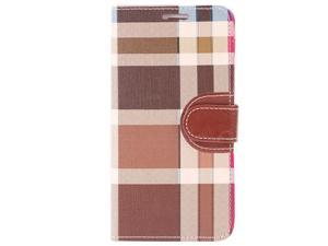 For Samsung Galaxy S7 Edge Brown Plaid Folio Wallet Leather ID Cover Case