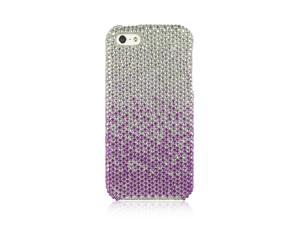 For iPhone 5 / 5S  Silver to Purple Fade Full Diamond Fitted Cover Case