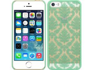 For iPhone 5 / 5S Green / Clear Lace Design Back Fitted Skin Cover Case