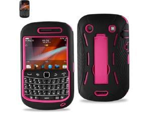 Black With Pink Hybrid Case Cover with Stand for Blackberry 9900/9930