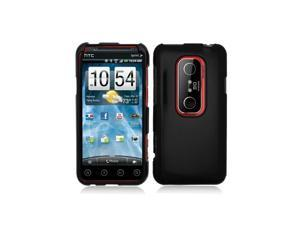 Black Glossy Snap-On Hard Case Cover for HTC Evo 3D  /  Evo V